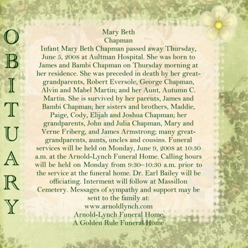 sample infant obituaries
