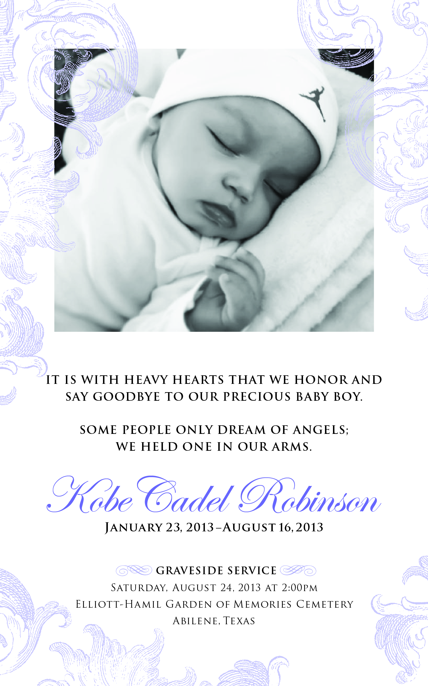 Memorial Cards/Birth Announcements |